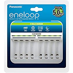 Panasonic Eneloop 52063e00 Chargeur Intelligent pour Batteries 1–8 Ni-MH AA/AAA Blanc