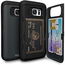 Coque Samsung Galaxy S7 [TORU CX Pro] Coque portefeuille, Etui porte carte de crédit pratique original, de qualité, discret, double housse de protection souple et rigide, antichoc, avec miroir [Fonction Stand] [Auto-support Paysage] [Coleur] pour Samsung Galaxy S7 - Ardoise Métalisée