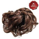 91-609-02 - Elastico per Capelli Fermacoda in capelli sintetici larghezza media - Diametro cm 10 e lunghezza ciuffi fino a 7 cm - Aspetto naturale - Elastici fermacoda extension (Cstano Chiaro)