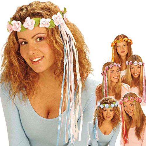 Blumenkranz Haare Haarschmuck Blumen hellrosa Hippie Blumenhaarkranz Fee Blütenkranz Elfe Blumenschmuck Haar Kostüm Accessoire Blumenkind Mottoparty Zubehör (Blumenkind Kostüm Zubehör)