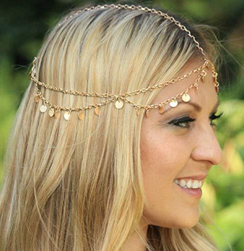 JINNUO Head Chain Layered Pailletten Choker Halskette mit langkettigem Anhänger für Damen Lady Girl (Gold) (Head Kette Schmuck)