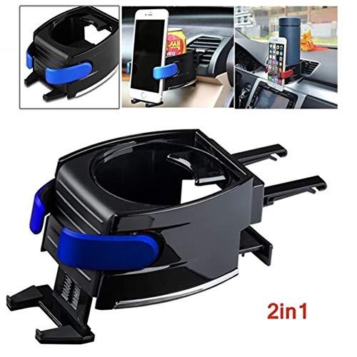 Romdink Auto Getränkehalter, einstellbar 2 in 1 Auto Getränk Ständer Handyhalter Lüftungsschacht Montieren Fahrzeug Automobil Wasserflasche Halter (Blue) -