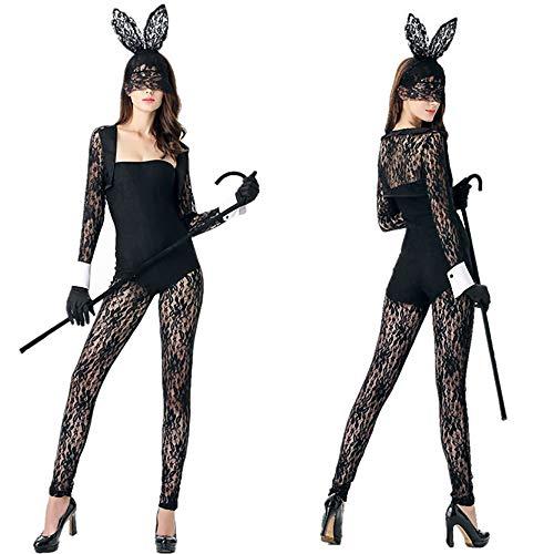 Kostüm Bunny Set Playboy - Frauen Mitternacht Hop Bunny Girl Outfit Cosplay Kostüm, Sexy Dessous Overall mit Hasenohren