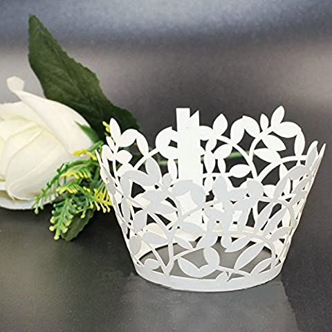 Somnr® Premium Cupcake Wrappers - 108pcs Pack - Shimmering Decorative White Vine Lace Liner - Versatile design makes it perfect for your next event: Wedding, Birthday, Baby Shower, Tea Party by