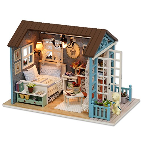 CUTEBEE Mini-Holz-Puppenhaus mit Möbeln Haus Miniatur-Kunsthandwerk Spielzeug für Kinder und Jugendliche DIY Montag. (Forest Time) -