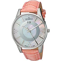 GROVANA 4411.7536 Women's Quartz Swiss Watch with Mother Of Pearl Dial Analogue Display and Pink Leather Strap