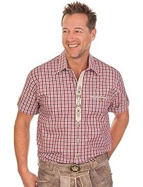 Trachten Herren Hemd mit 1/2 Arm - WALDFRIED - rot, braun