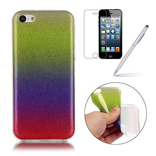 iPhone 5C Case,iPhone 5C Hülle - Felfy Apple iPhone 5C Ultra Slim Ultradünn Case Soft Gel Flexibel TPU Silikonhülle mit Bling Sternchen Gradient Farbe Design Protective Scratch Resistant Bumper Case B Gelb Lila Rote Case