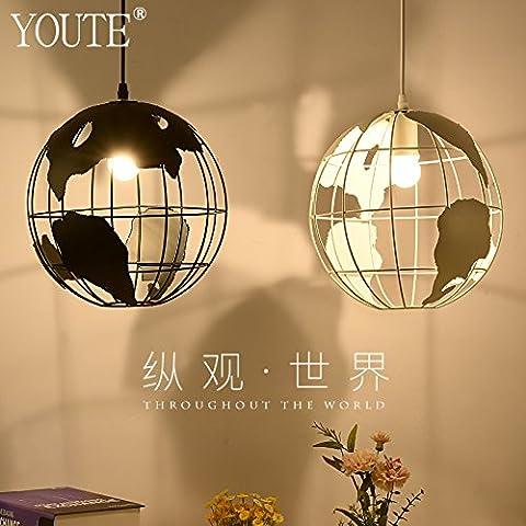 Lbcvh Sencillez nórdica personalidad creativa candelabros de hierro y vidrio, vintage comedor droplight,Blanco (ninguna fuente de
