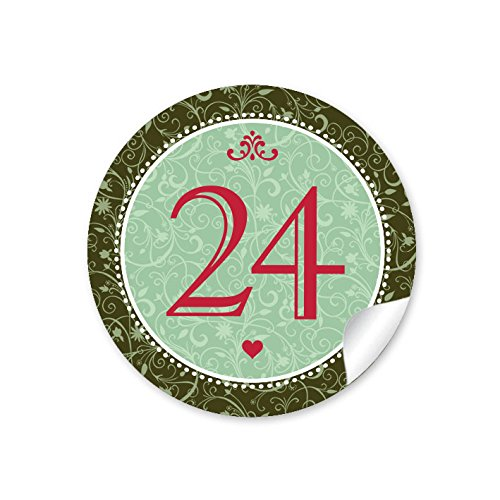"""'24chiffres de l'Avent en vert/vert sapin avec ornements et chiffres 1–24dans le """"Vintage Look rétro pour un calendrier de l'avent à remplir soi-même bricolage/Sacs Papier & # x2022; autocollant de Noël: 4cm, rond, mat"""