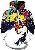 TDOLAH Herren 3D Druck Kapuzenpullover Cartoon Sweatshirt Weihnachten Langarm Top Shirt Herbst Spaß Hoodie (L / XL (Brustumfang: 114-134CM), A-ein alter Mann raucht)