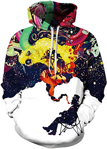 Bettydom Herrn Slim Fit mit bunt 3D Aufdruck Geschmack Weihnachten Unisex Sweatshirt Kapuzenpullover Hoodies Langarm Top Jumper Shirt Smoking Man
