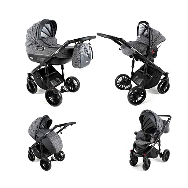 Lux4Kids Pram Stroller 3in1 2in1 Isofix Colour Selection Buggy Car seat BOL Black Square OB-07 4in1 car seat +Isofix Lux4Kids Lux4Kids Bol 3in1 or 2in1 pushchair. You have the choice whether you need a car seat (baby seat certified according to ECE R 44/04 or not). Of course the car is robust, safe and durable Certificate EN 1888:2004, you can also choose our Bol with Isofix. The baby bath has not only ventilation windows for the summer but also a weather footmuff and a lockable rocker function. The push handle adapts to your size and not vice versa, the entire frame is made of a special aluminium alloy with a patented folding mechanism. 3