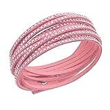Emma Gioielli - Damen Leder Armreif Armband Pink Wickelarmband mit Kristallen SWAROVSKI ELEMENTS