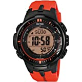 Casio - PRW-3000-4ER - Montre Homme - Quartz Digitale - Solaire/Radio/Boussole/Altimètre - Bracelet Résine Orange