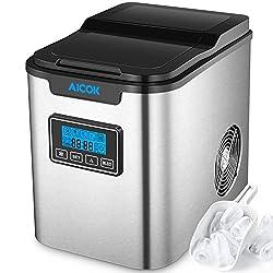 Eiswürfelmaschine Aicok / Edelstahl Eismaschine / 12KG Eis Pro Tag / 9 Eiswürfeln in 6-12 Minuten / 3 Eiswürfel-Größen / 2.2L Wassertank / LCD Anzeige / 150W / Selbstreinigungsfunktion / Icemaker
