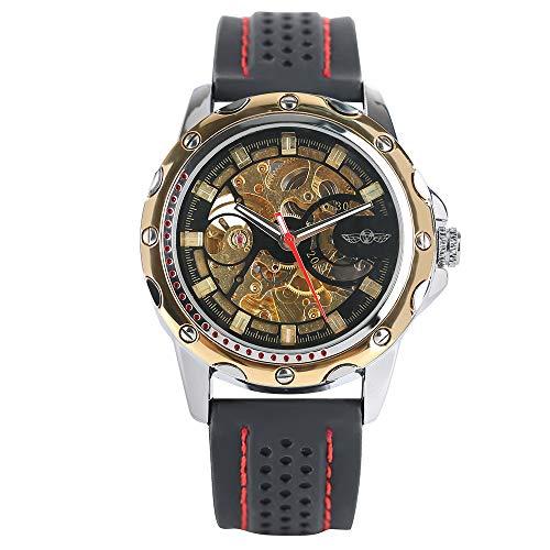 r, Automatische Mechanische Skelett-Uhr für Herren und Damen, Business Weiches Gummiband Armband ()
