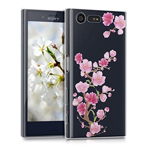 kwmobile Crystal Case Hülle für Sony Xperia X Compact aus TPU Silikon mit Kirschblüte Ast Design - Schutzhülle Cover klar in Pink Rosa Transparent