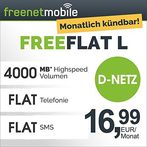 freenetmobile freeFLAT L im D-Netz, 1 Monat Laufzeit (monatlich kündbar), 4GB Internet-Flat mit max. 42 MBit/s, Telefonie- und SMS-Flat in alle deutschen Netze, monatlich nur 16,99 EUR, Triple-Sim-Karten