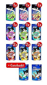 Felix Lot de 12 Paquets de friandises pour Chat + 2Paquets de Sensations Sauce offerts, 9x 60g, 3x 45g et 2x (5x 15g)