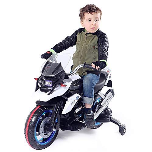 Niños Motocicleta ElÉCtrica con Luz LED MÚSica Motocross 6v BaterÍA Infantil Moto,White