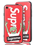[ Apple iPhone 7/8, Rot ] Handy Hülle mit Supreme Logo + Kermit der Frosch Design - Stabiles Frog Case Muppet Show - Oberflächen Muster fühlbar in 3D Motiv - Optimaler Schutz für Ihr iPhone