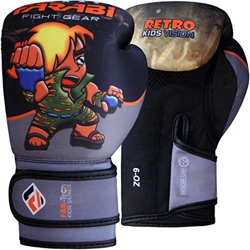 Farabi Retro Serie Junior Warrior - Guantoni da boxe per bambini, Grigio/Nero, 170 grammi