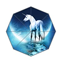 Custom White Unicorn Facing Moon Design Umbrella