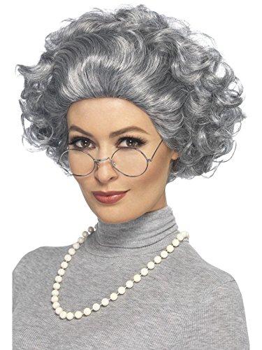 Smiffys, Damen Großmutter Set, Perücke, Brille und Perlenkette, One Size, Grau, (Perücken Dame Alte)