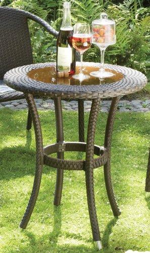 Consul Garden Tisch 'Graz', mit Glasplatte, zerlegt, Mocca, 60x72cm
