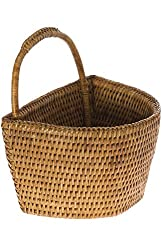 Kouboo La Jolla Rattan Wall Basket, Honey Brown, Small