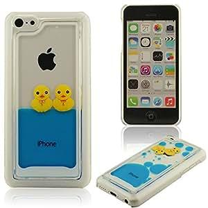 iPhone 5C Coque Case, Petit Jaune Canard Style, Bleu Eau Liquide Case, Housse ?tui de Protection, Dur Transparent Skin Cover Case ( iPhone 5 5S 5G Pas S'adapter )