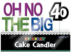 Amscan Continuous 40th Birthday Party Oh No the Big 40 Molded Toothpick Candle Decoration, Pack of 11 Supplies (66 Piece)