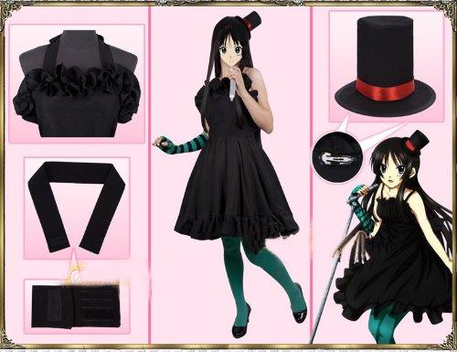 K-ON! Bass Player Mio Akiyama Schwarzes Kleid Cosplay Kostüme Brauch (Mailen Sie uns Ihre Größe),Größe S:155-160 cm (K On Mio Cosplay Kostüm)