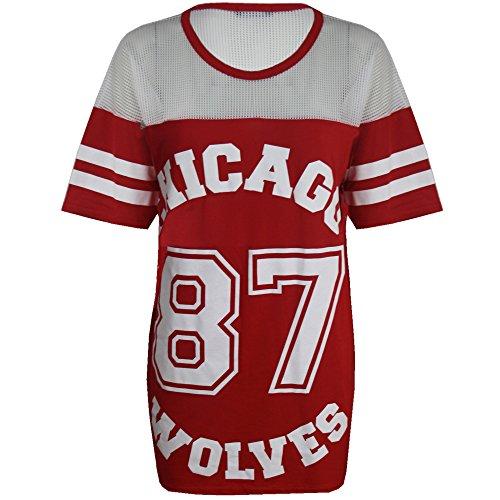 Damen T-Shirt Chicago 87 Wolves Lockeres Übergroßes Baseball T-Shirt Kleid Langes Top, Rot, S/M (EU 36/38)