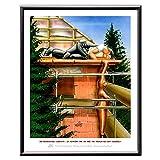 Veit`S Wandbild Cartoon Beruf Bau Dachdecker Handwerker - Ich Habe die Dachlatten Nicht eingeölt! (Mittel 40x50mit Rahmen)