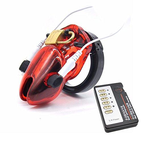Peniskäfig Keuschheitskäfig, Loveusexy Electro Shock Penis Keuschheit Cock Cage Käfig Device Keuschheitsgürtel für Männer Kurz-Typ (Rot)