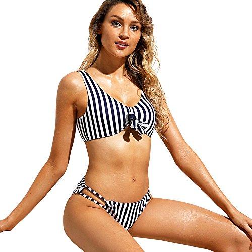 YQQ Bow Badeanzug Triangel-Bikini Geteilter Badeanzug Weiblicher Badeanzug Damen Bademode Sexy Gemütlich Streifen (Farbe : A, größe : L)