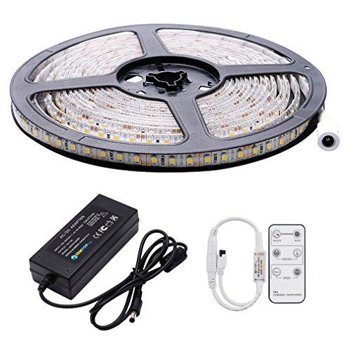 Auralum® Flexible 5M 72W SMD 2835*600 Leds IP65 Wasserdicht Warmweiß LED Streifen Strip Band inck. Fernbedienung & Netzteil