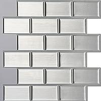 Ecoart Decorativos Adhesivos Para Azulejos Pegatina de pared,Azulejos de gel, diseño rectángulos, diseño de ladrillos, efecto 3d, autoadhesivo, Para cuarto de baño y cocina, 25.4cm *25.4cm, 6 piezas por paquete