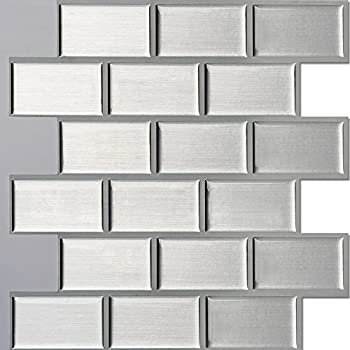 Ecoart Wall Tile Stickers Peel And Stick Self Adhesive Wall Tile In Brick  Style For Kitcheh Bathroom Backsplash Silver 10 Part 88