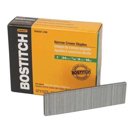 Bostitch SX50351SS-1M 18-Gauge 7/32 in. x 1 in. Narrow Crown Stainless Steel Finish Staples (1,000-Pack) by Bostitch -