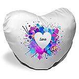Herzkissen mit Namen Lara und schönem Motiv mit Wasserfarben-Herz zum Valentinstag - Herzkissen personalisiert Kuschelkissen Schmusekissen