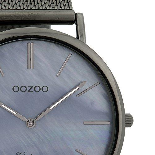 Flache Oozoo Vintage Damenuhr mit Milanaise Metallband und Perlmutt Ziffernblatt 40 MM