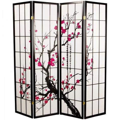 Fine Asianliving Japanese Room Divider Sakura Shoji Ricepaper 4 Panel - Black -