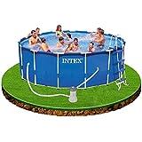 Intex 12-28236 Metall-Frame Pool-Set 457 x 122 cm, Kartuschenfilter 3785 Liter/h, Leiter, Abdeck-/ Bodenschutz-plane