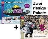 EDU Toys Riesiges Experimentierpaket Kristalle züchten + Edelsteinschleifset elektrisches Schleifgerät, Stein und Schleifmaterialien zur Herstellung von Edelsteinen