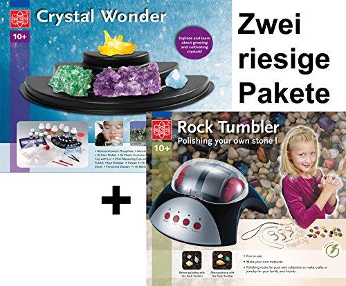 Experimentierpaket Kristalle züchten + Edelsteinschleifset elektrisches Schleifgerät, Stein und Schleifmaterialien zur Herstellung von Edelsteinen