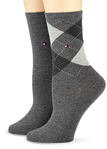 Tommy Hilfiger Damen Socken TH CHECK SOCK 2P, 2er Pack, Gr. 39/42, Grau (middle grey melange 758) (2 Argyle-socken)
