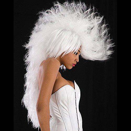 80er Jahr Rockerin Damenperücke weiß Irokese Frisur